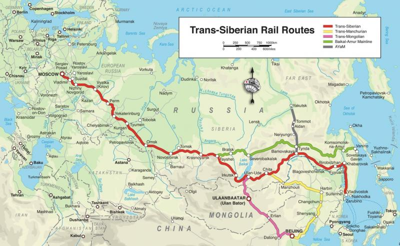 trans siberian railway map